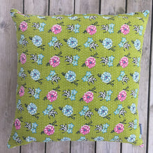 Load image into Gallery viewer, Vintage Cushion Cover Olive Flower