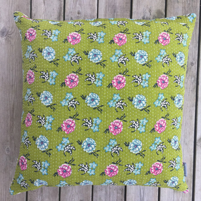 Vintage Cushion Cover Olive Flower
