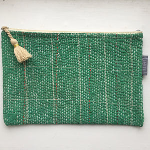 Vintage Kantha Pouch - Emerald