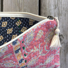 Load image into Gallery viewer, Vintage Kantha Pouch - Peach Paisley Stripe