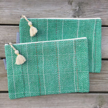 Load image into Gallery viewer, Vintage Kantha Pouch - Emerald