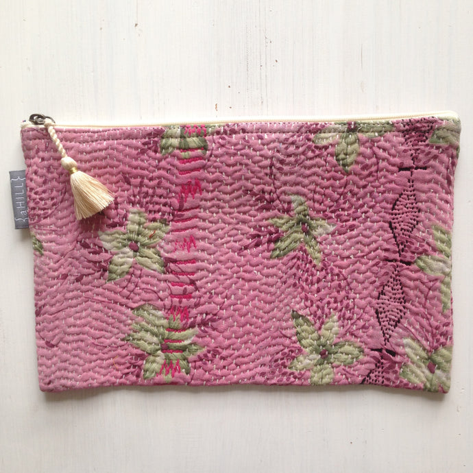 Vintage Kantha Pouch - Heather