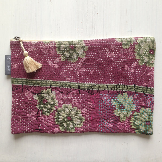 Vintage Kantha Pouch - Dark Heather