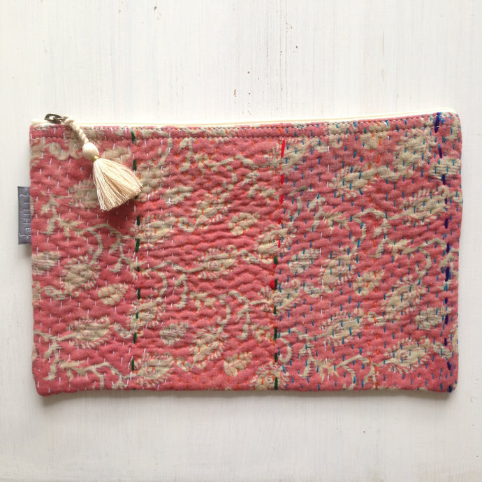 Vintage Kantha Pouch - Peach Paisley