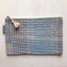 Load image into Gallery viewer, Vintage Kantha Pouch - Lt Blue Check