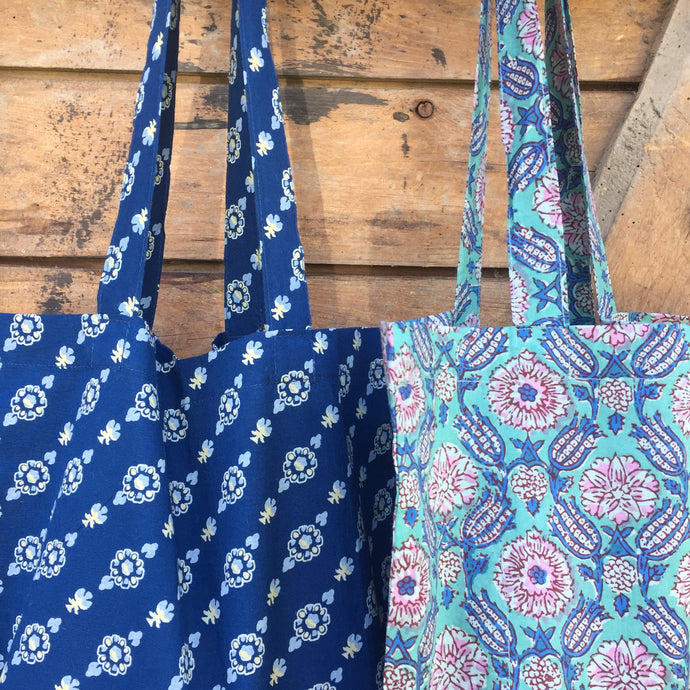 Shopping & Laundry Bag from Left-Over Blue Mala