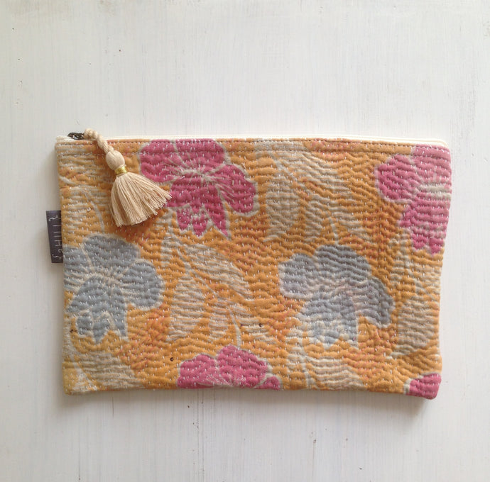 Vintage Kantha Pouch - Multi Orange