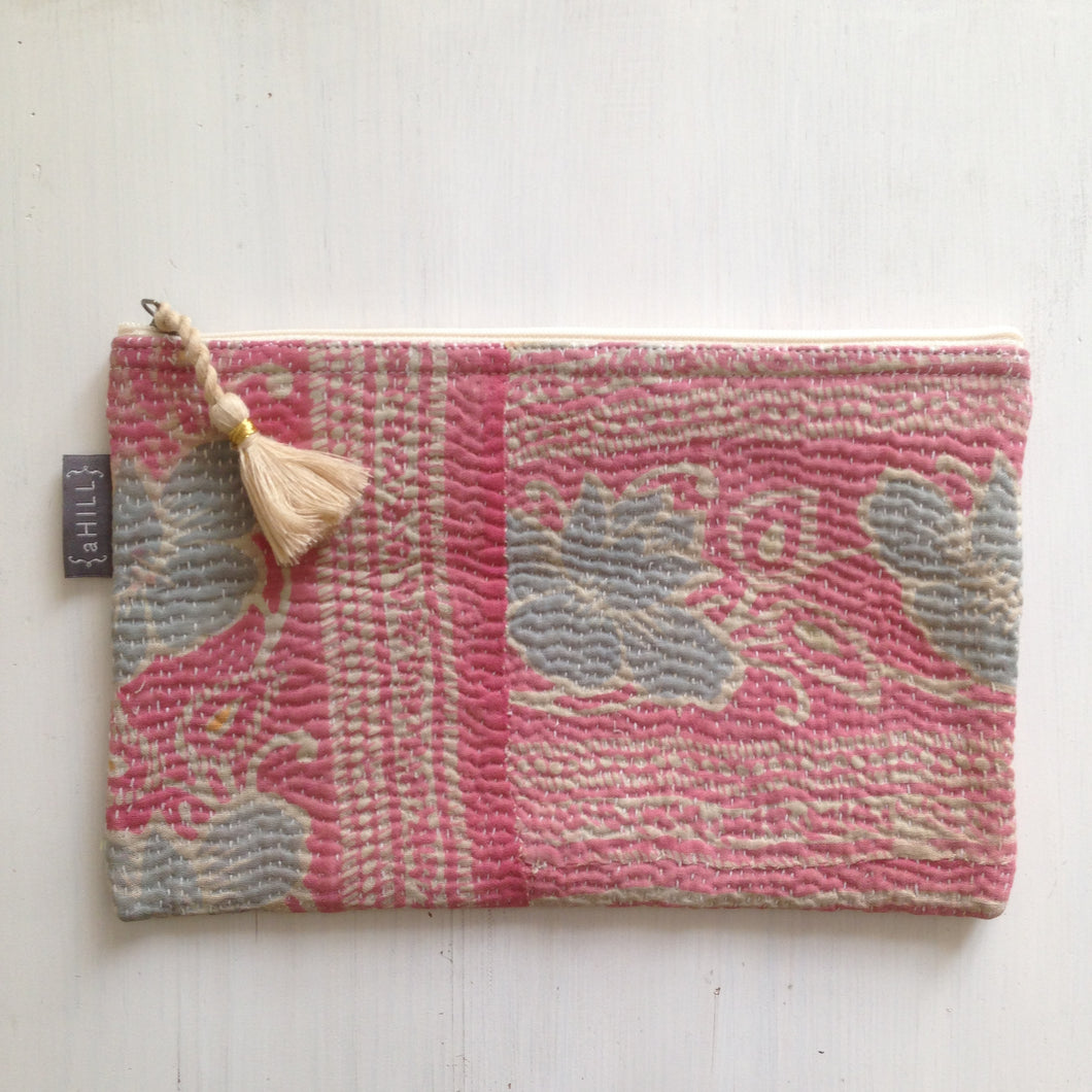 Vintage Kantha Pouch - Cool Pink