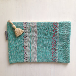 Vintage Kantha Pouch - Turquoise