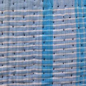 Vintage Cushion Cover Lt Blue Check