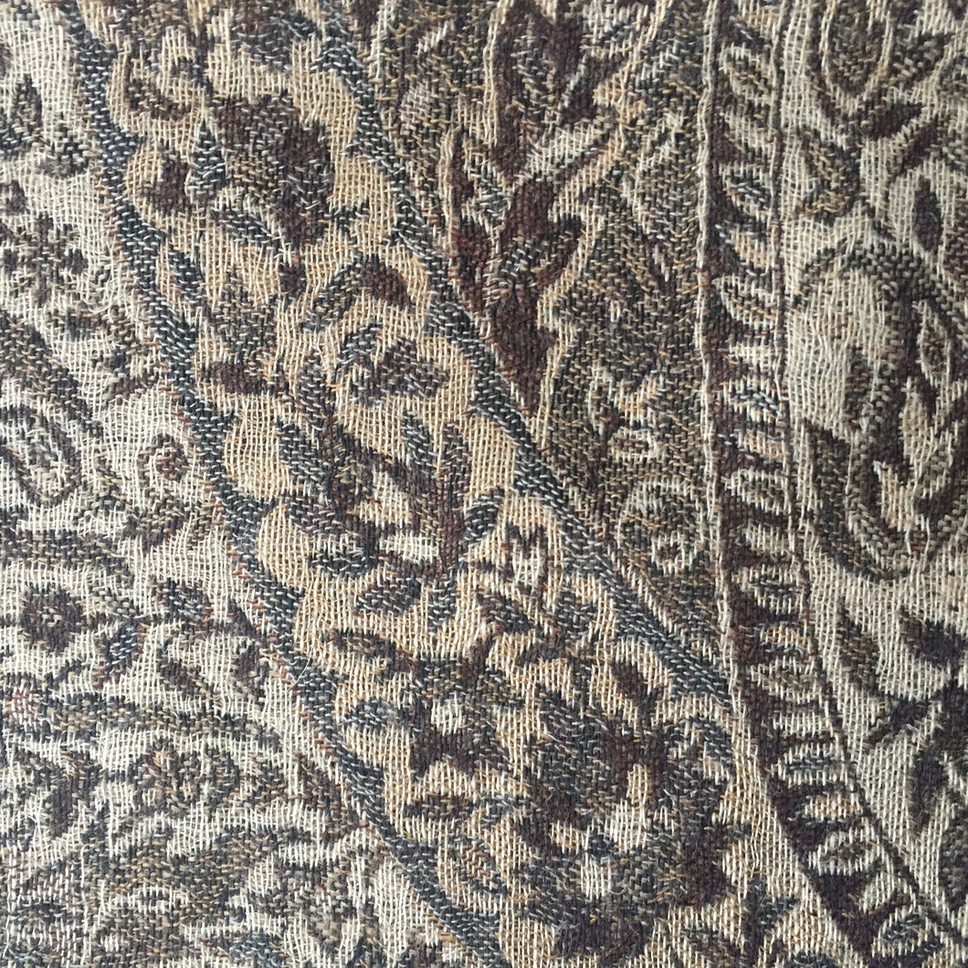 Muffler Scarf Paisley Light Brown Wool Jacquard