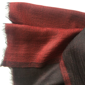 Scarf Two Tone Fine Wool Black/Dark Red