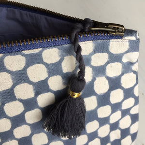 Make-up & Toiletry Bag Organic Cotton Block-print Dots Blue