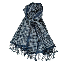 Load image into Gallery viewer, Scarf Hamam Indigo Ikat Blue