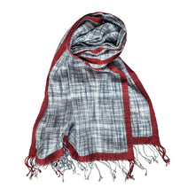 Load image into Gallery viewer, Scarf Hamam White Indigo Ikat Rust
