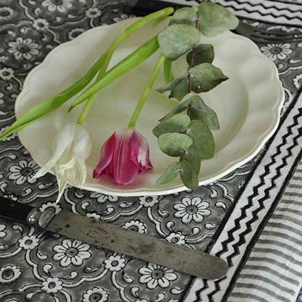 Tablecloth Organic Cotton - Jali Grey 150x250 cm