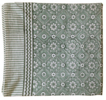 Load image into Gallery viewer, Tablecloth Organic Cotton Block Print - Jali Sage Green 150x150 cm