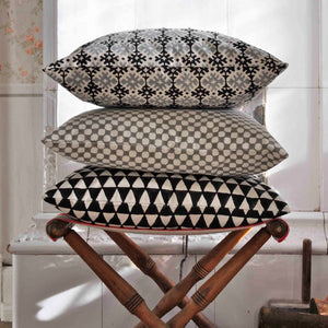 Cushion Cover Triangle Black Organic Cotton