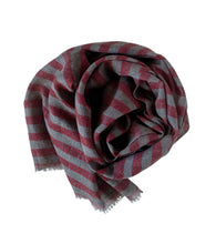 Load image into Gallery viewer, Scarf Stripe Grey Melange Red