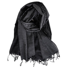 Load image into Gallery viewer, Shawl Shaker Check & Stripe Black