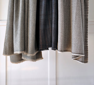 Shawl Shimla Wool Herringbone Grey/Beige
