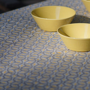 Tablecloth Organic Cotton Block Print - Tara Grey/Yellow 150x265 cm
