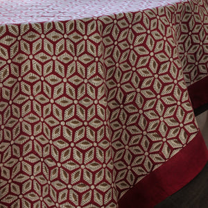 Tablecloth Organic Cotton Block Print - Tara Wine 150x150 cm