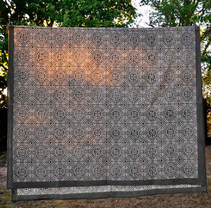 Tablecloth Organic Cotton Block Print - Tiles Black 150x250 cm