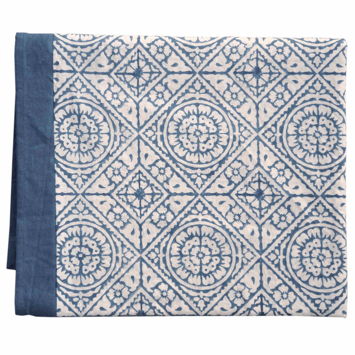 Tablecloth Organic Cotton - Tiles Blue 150x250 cm