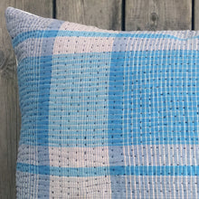 Load image into Gallery viewer, Vintage Cushion Cover Lt Blue Check