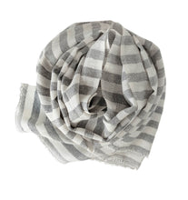 Load image into Gallery viewer, Scarf Stripe Grey Melange Off white