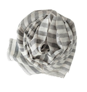 Scarf Stripe Grey Melange Off white