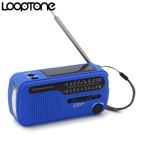 LoopTone FM/AM/SW Receiver Portable Stereo Radio For Outdoor Emergency Cranking Dynamo/Solar Power LED Flashlight Phone Charger