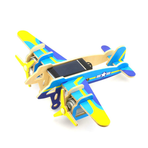 Funny Children Kids DIY Educational Assembly Puzzle Solar Powered 3D Wooden Twin-engine  Aircraft Woodcraft Toy