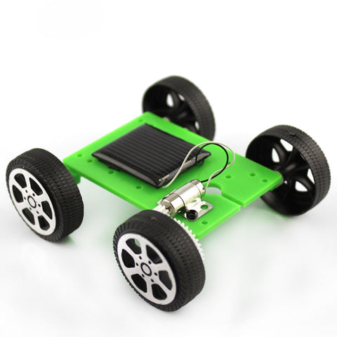 1PC Hot Selling Green Mini Solar Powered Toy Children Educational Gadget Hobby Funny DIY Car Kit