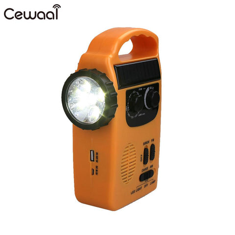 AM/FM Radio Flashlight Emergency Solar Hand Radio Wind Up Solar Rechargeable Emergency LED Flashlight Light Charger Lamp