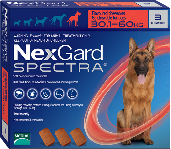 Nexgard Spectra 3 Tablets for Dogs 30.1-60 KG. EXP : 01/2020 - Pets Chewy