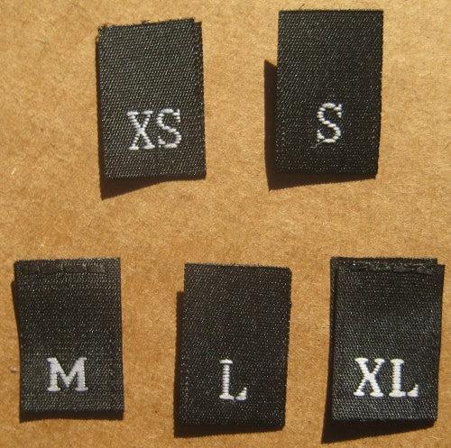 (Adult) Number & Letter Size Clothing Labels (stock labels)