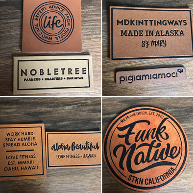 Faux leather labels with black ink deboss