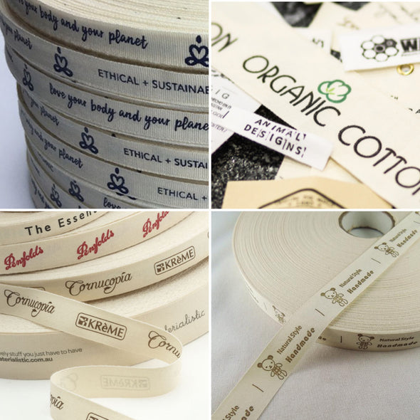 Natural Printed Cotton Ribbon on Rolls