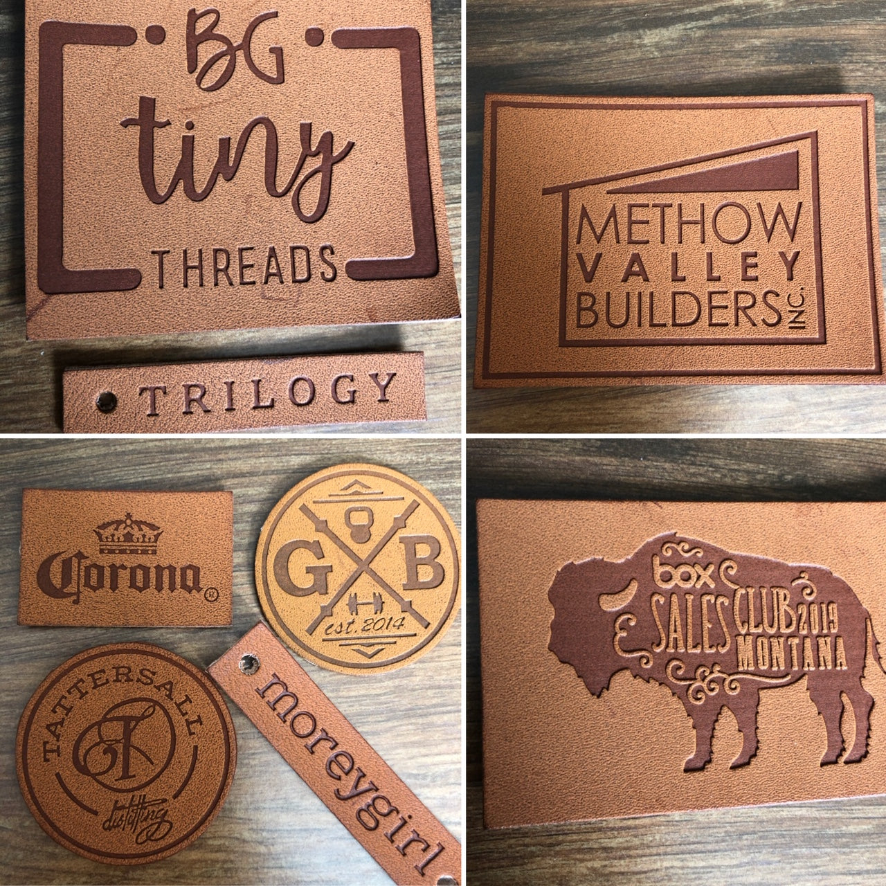 Made in USA Company Sew on or Iron On 100 Leather Labels Brown or Black Leather Patches