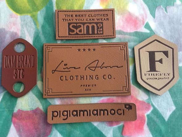 Faux Leather labels with Black Ink
