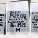 Woven Size, Care, & Content Clothing Labels