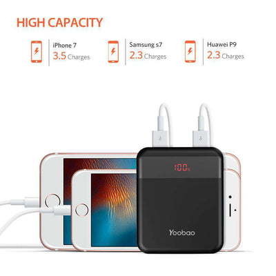 10,000 mAh Dual-Output Mobile Power Bank With LCD Indicator - HYPR Supply