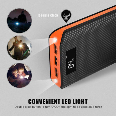 20,000 mAh Triple-Output Mobile Power Bank With LCD Indicator & 2 LED Flashlights - HYPR Supply