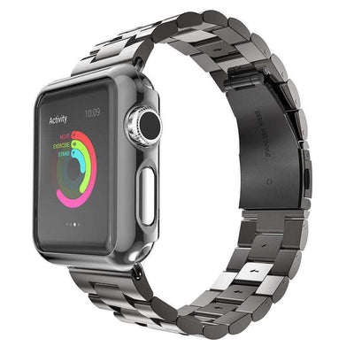 Apple Watch - Stainless Steel Link Deployment Buckle Band With Rounded Protective Case - HYPR Supply