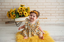 Load image into Gallery viewer, Sunflower Skirted Romper, Pre-order, Allow 4 weeks creation time prior to shipping