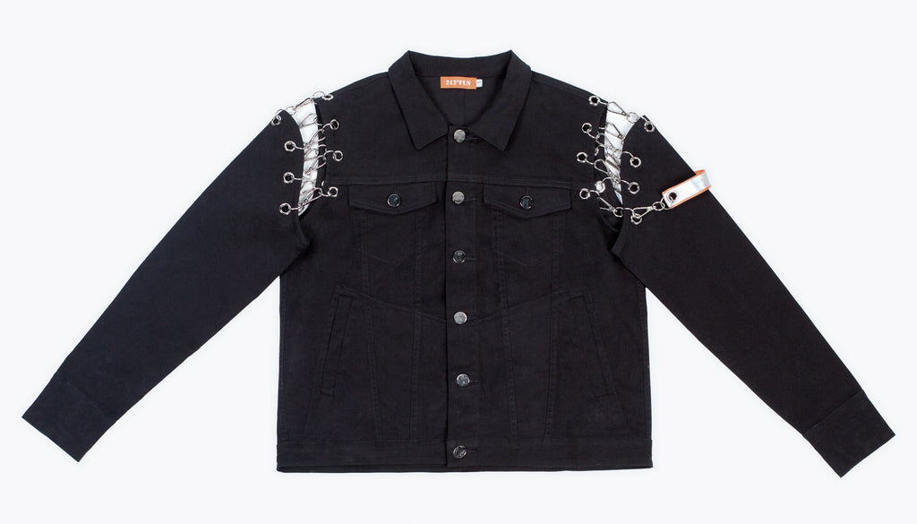 212°FUN Black Removable Sleeve Denim Jacket