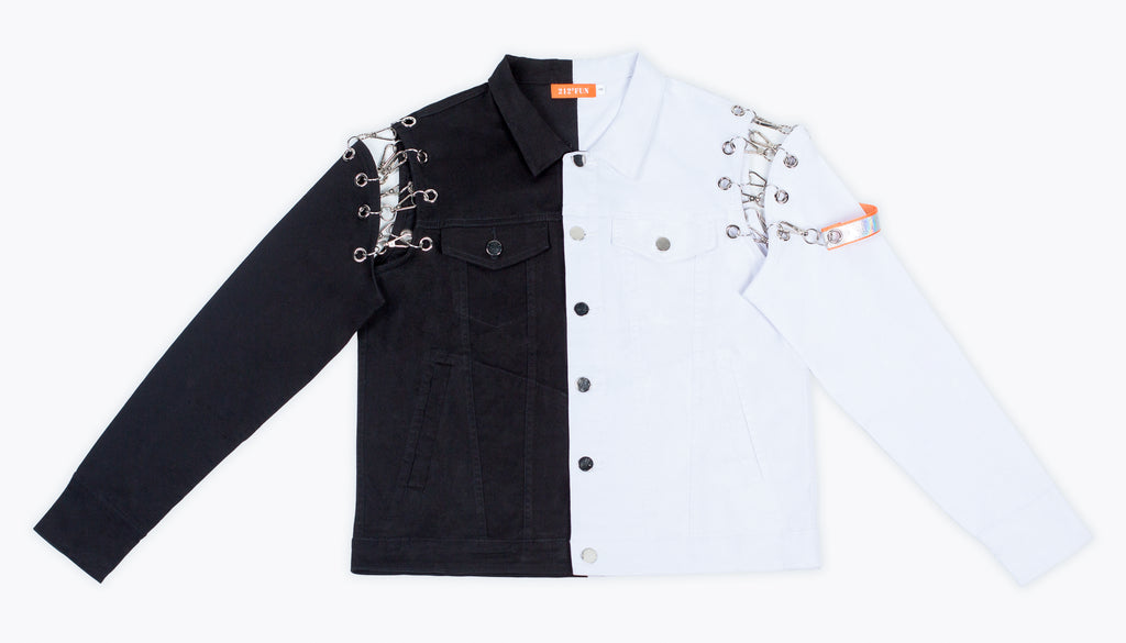 212°FUN Black & White Removable Sleeve Denim Jacket