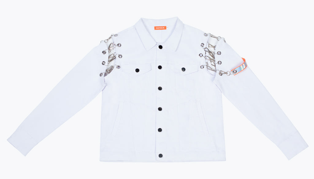 212°FUN White Removable Sleeve Denim Jacket